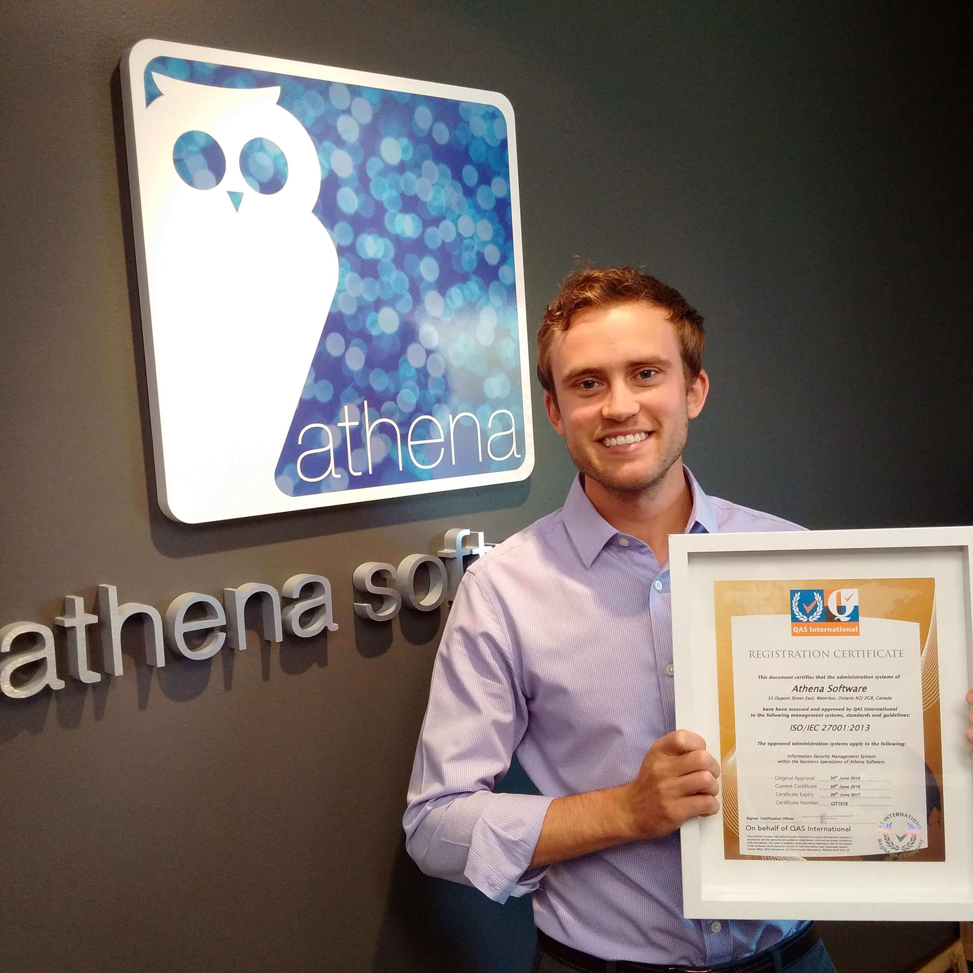 athena team member with iso certificate